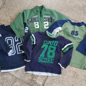 Lot of 4 boys shirts/hoodie 12-24 months